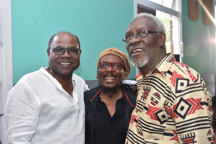 Minister of Tourism, Hon. Edmund Bartlett (left) shares a light moment with IRIE FM Lifetime Achievement awardee, Jimmy Cliff and former Prime Minister, the Most Hon. P.J. Patterson