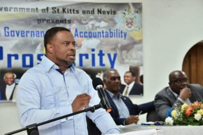 Honourable Mark Brantley of St. Kitts and Nevis speaking at Team Unity's Town Hall meeting.