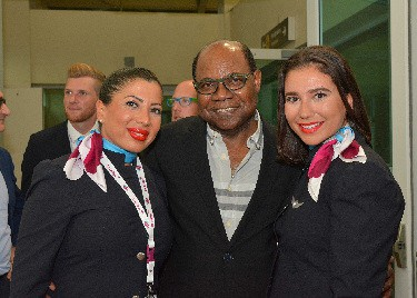 Edmund Bartlett and Eurowing Crew Minister of Tourism Hon Edmund Bartlett had a special welcome for the Captain and crew of Eurowings on its inaugural twice weekly flights out of cologne/Bonn, Germany, to Montego Bay on Monday, July 3, 2017, with 291 passengers. Here, Minister Bartlett is captured with two of Eurowings' flight attendants, Padimae Gorgulu (left) and Rumeysa Karakas (right), who he presented with special gift bags to commemorate their visit.