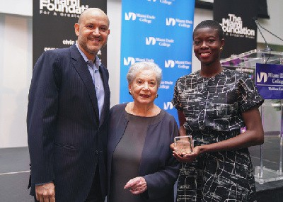 President of the Miami Foundation, Javier Soto; President Emeritus of The Miami Foundation, Ruth Shack; Ruth Shack Leadership Award recipient, Nadege Green