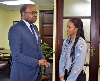 Jamaican Track Star Brianna Williams Congratulated by Tourism Minister, Edmund Bartlett