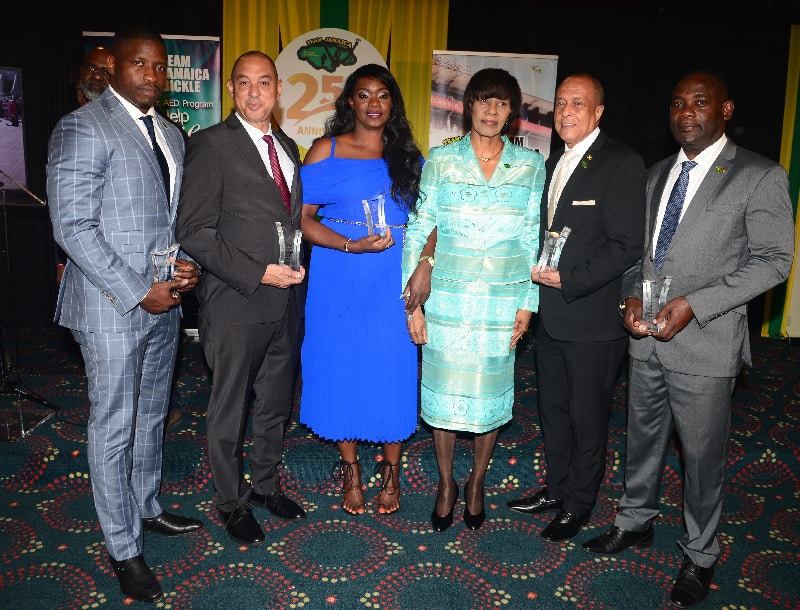 Team Jamaica Bickle Honorees pose with Former PM, Portia Simpson-Miller  L-R: Sekou Clarke Esq., Don Wehby, Trishana McGowan, Portia Simpson-Miller, Allie McNab and Dr. Walton Small