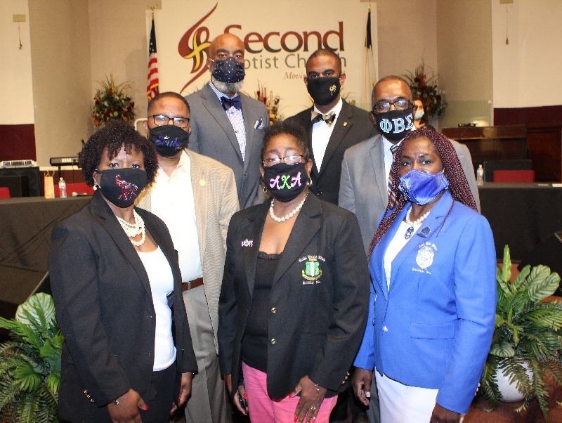 Members of the South Dade Divine Nine Presidents Pact: Row one: Stephanie Steele, Bonita Cooper, Anita Moore; Row two: Kevin T. Richardson and Jerard Carter; Row three: Winston Warrior and Leslie Elus
